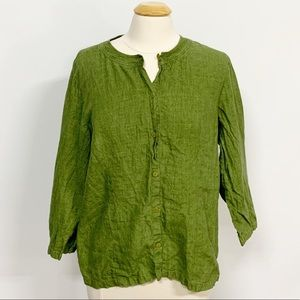 Eileen Fisher | Green Linen Button Down Blouse 1X